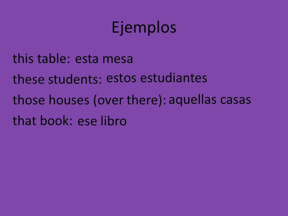 Ejemplos this table: these students: those houses (over there): that book: aquellas casas ese libro estos estudiantes esta mesa