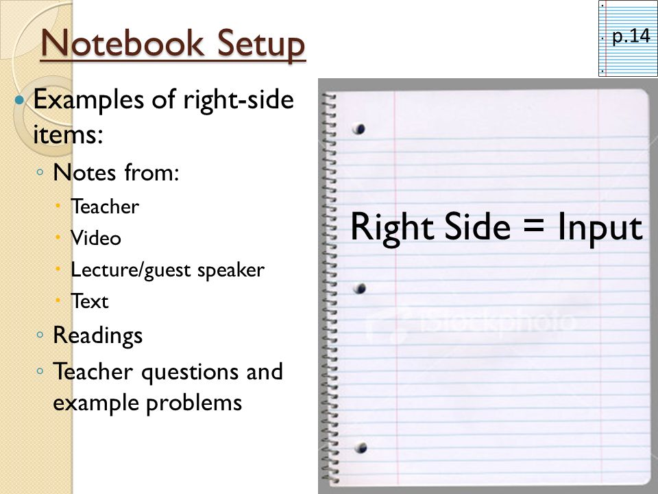 Notebook Setup Examples of right-side items: Notes from: Teacher Video Lecture/guest speaker Text Readings Teacher questions and example problems Righ