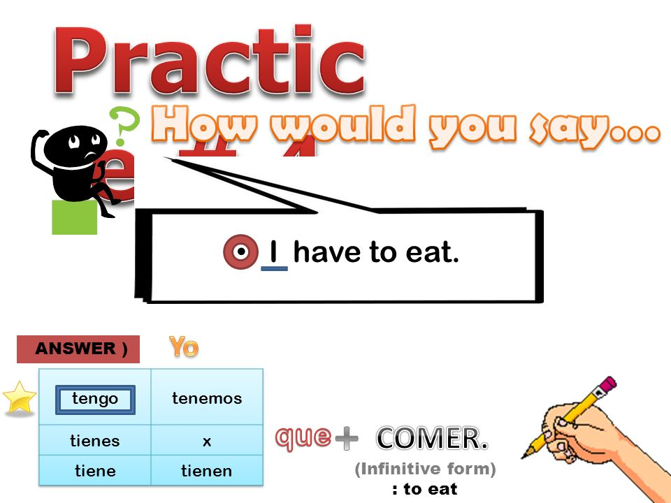 I have to eat. (Infinitive form) : to eat ANSWER )