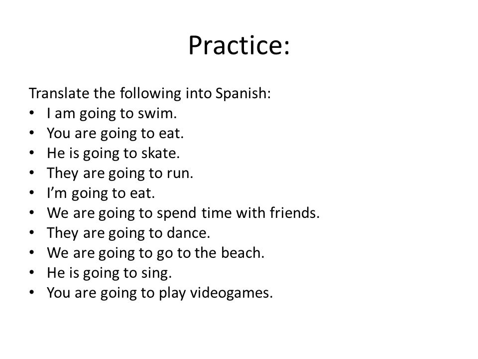 Practice: Translate the following into Spanish: I am going to swim.