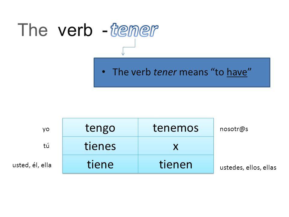 The verb - The verb tener means to have yo tú usted, él, ella nosotr@s ustedes, ellos, ellas