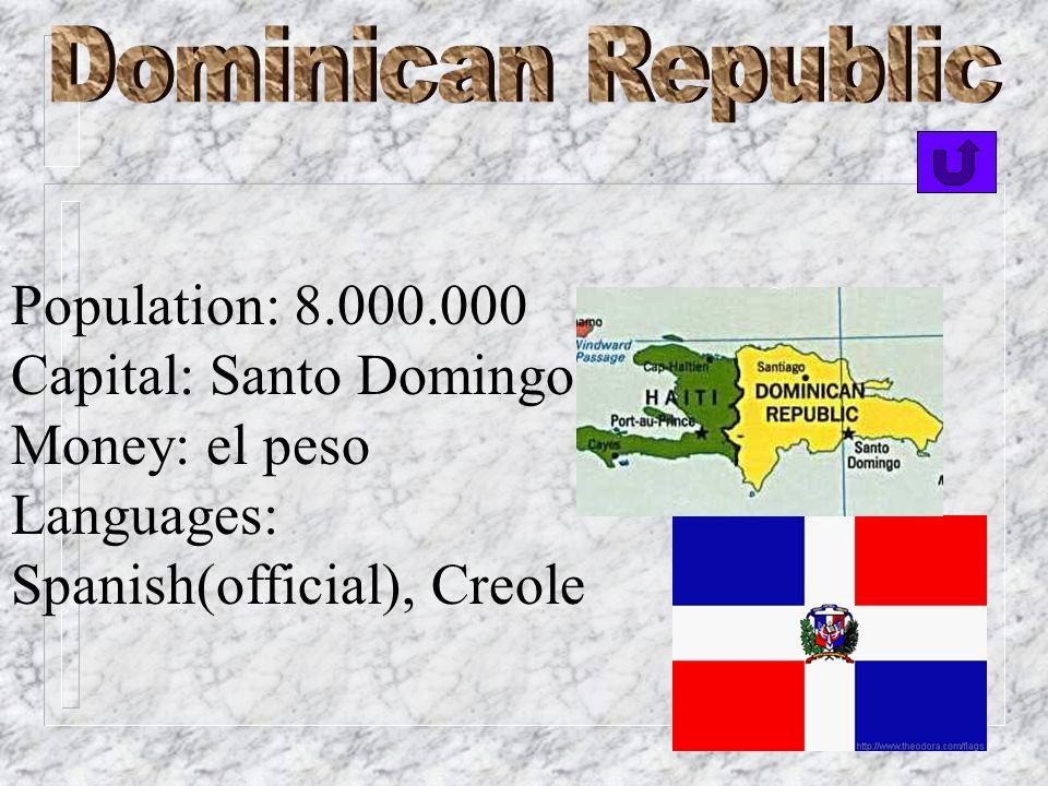 Population: 11.000.000 Capital: Havana Money: peso, American dollar Languages: Spanish