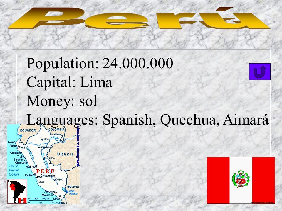 Population: 11.000.000 Capital: Quito Money: sucre Languages: Spanish(official), Quechua
