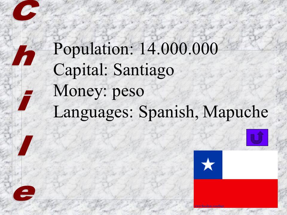 Population: 8.000.000 Capital: La Paz, Sucre Money: Bolivian peso Languages: Spanish, Quechua, Aimará