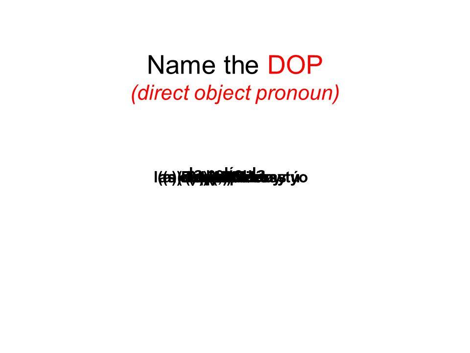 Name the DOP (direct object pronoun) el perrola escuelalas computadoras(a) los chicos la película los lápices(a) ellos(a) Uds.(a) Pepe, María y yo(a)
