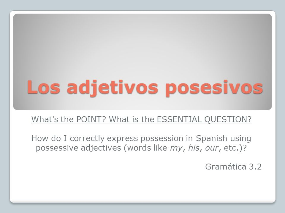 Los adjetivos posesivos Whats the POINT? What is the ESSENTIAL QUESTION? How do I correctly express possession in Spanish using possessive adjectives