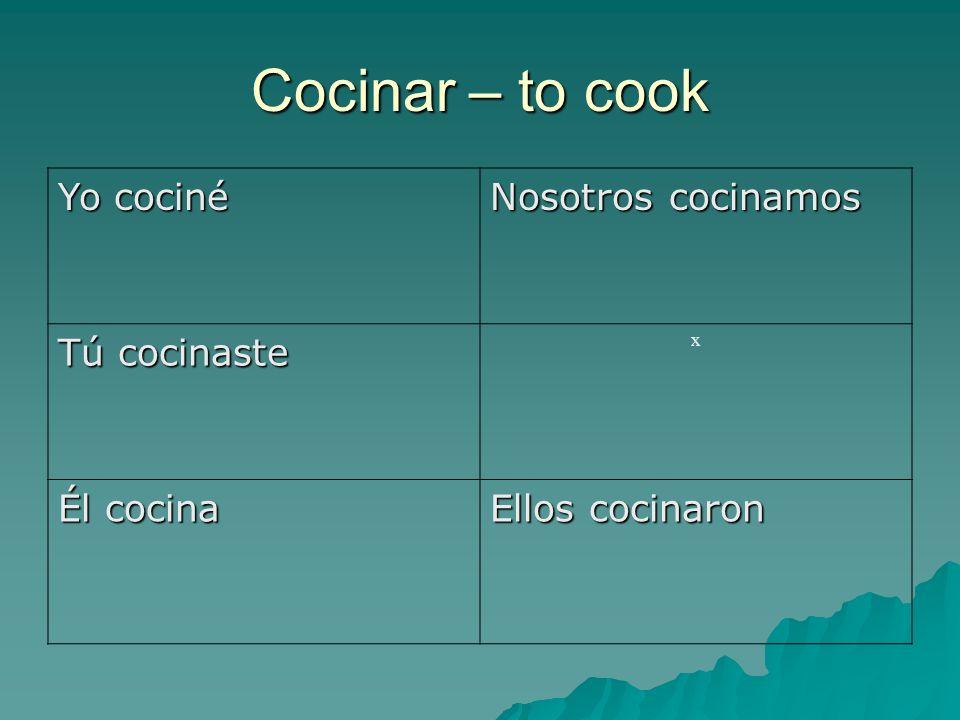 Cocinar – to cook Yo cociné Nosotros cocinamos Tú cocinaste x Él cocina Ellos cocinaron