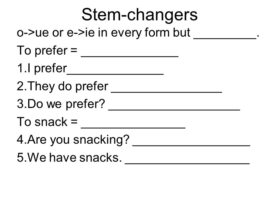 Stem-changers o->ue or e->ie in every form but _________.