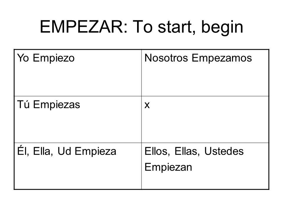EMPEZAR: To start, begin Yo EmpiezoNosotros Empezamos Tú Empiezasx Él, Ella, Ud EmpiezaEllos, Ellas, Ustedes Empiezan