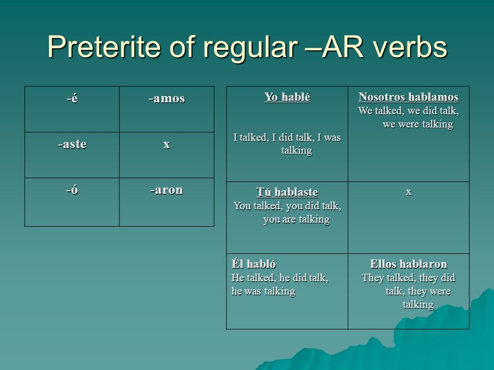 Preterite of regular –AR verbs -é-amos -astex -ó-aron Yo hablé I talked, I did talk, I was talking Nosotros hablamos We talked, we did talk, we were talking Tú hablaste You talked, you did talk, you are talking x Él habló He talked, he did talk, he was talking Ellos hablaron They talked, they did talk, they were talking