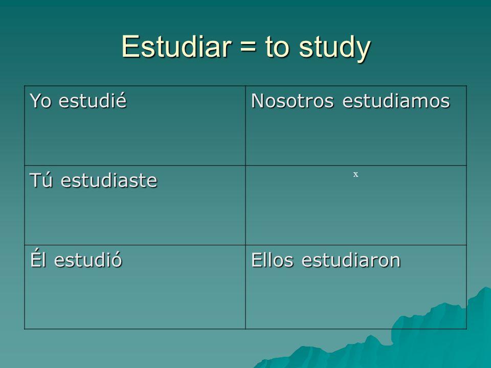 Estudiar = to study Yo estudié Nosotros estudiamos Tú estudiaste x Él estudió Ellos estudiaron