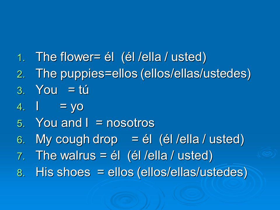 1. The flower= él (él /ella / usted) 2. The puppies=ellos (ellos/ellas/ustedes) 3. You = tú 4. I = yo 5. You and I = nosotros 6. My cough drop = él (é