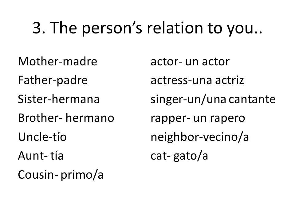 Mother-madreactor- un actor Father-padreactress-una actriz Sister-hermanasinger-un/una cantante Brother- hermanorapper- un rapero Uncle-tíoneighbor-vecino/a Aunt- tíacat- gato/a Cousin- primo/a