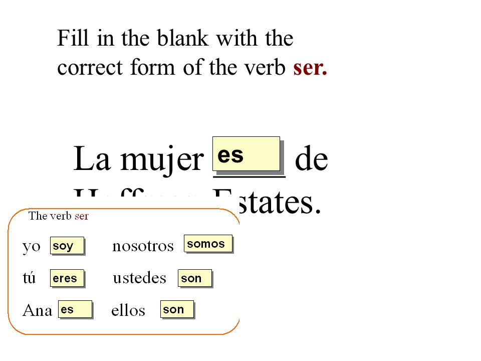 La mujer ____ de Hoffman Estates. Fill in the blank with the correct form of the verb ser. es