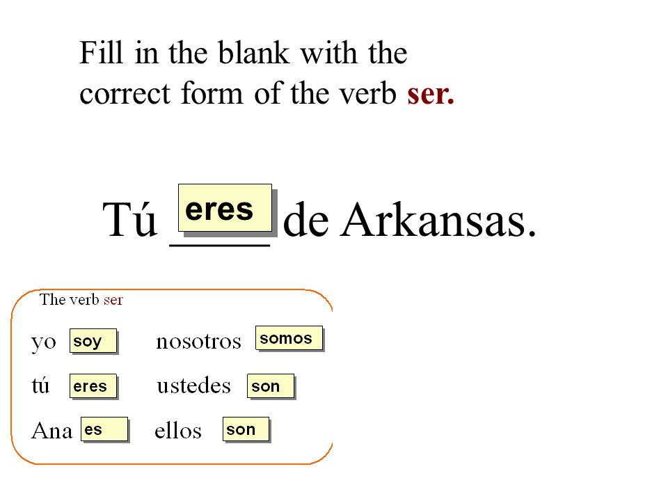 Tú ____ de Arkansas. Fill in the blank with the correct form of the verb ser. eres