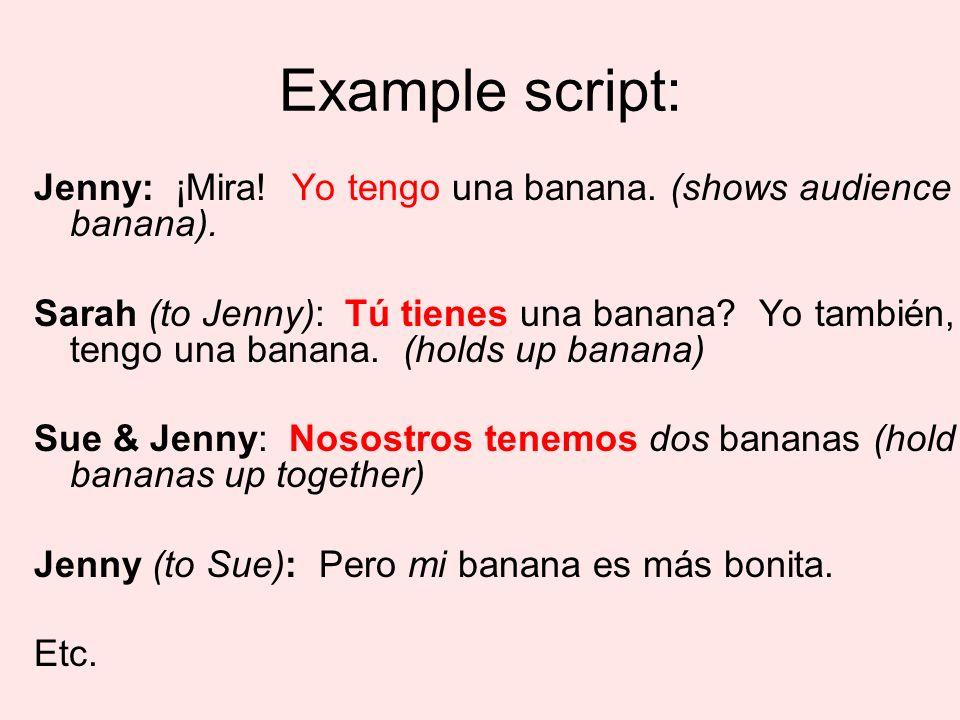tener skit: 1.Did everyone speak.(2) (0) 2.Were all 5 verb forms used correctly.