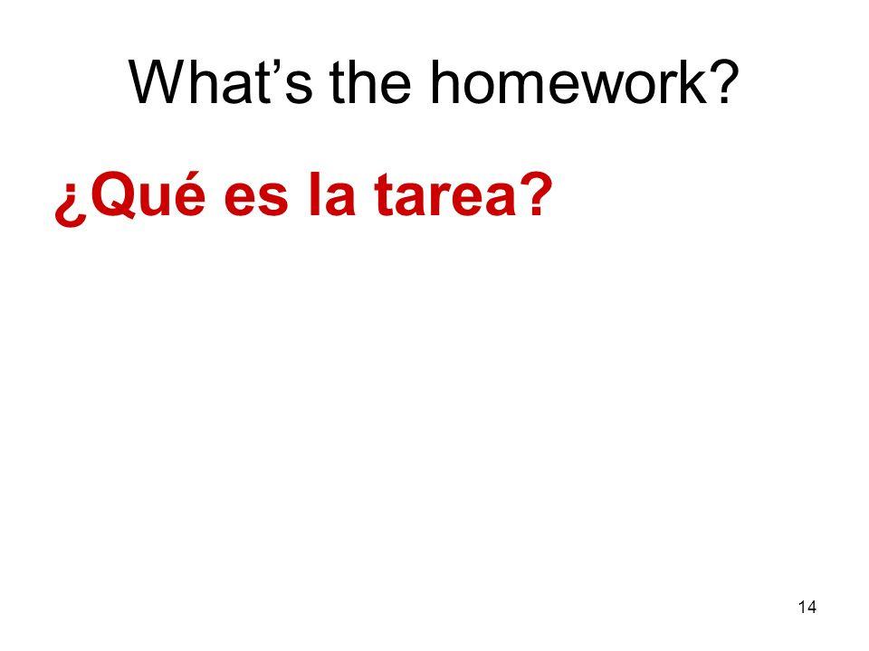 14 Whats the homework? ¿Qué es la tarea?