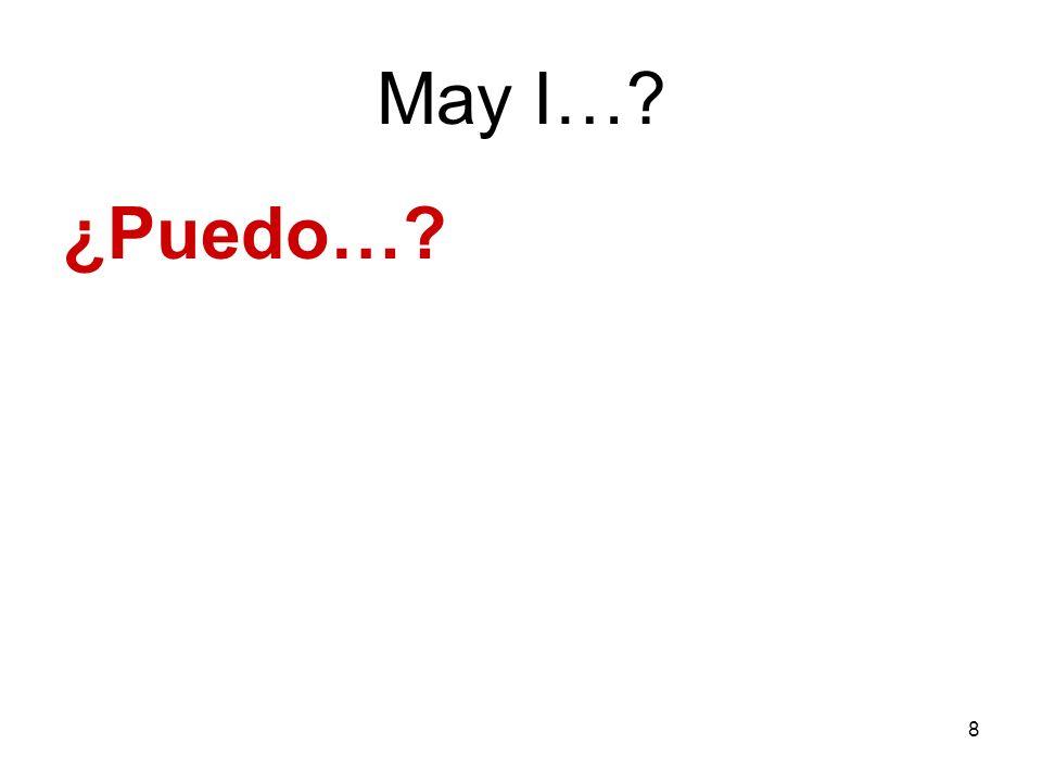 8 May I…? ¿Puedo…?