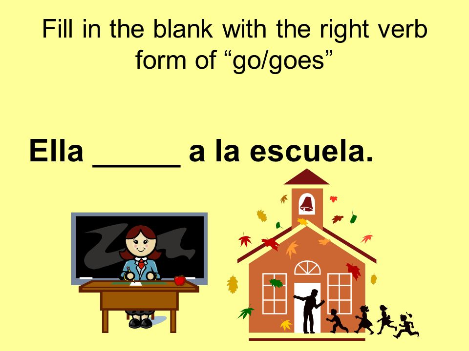 Fill in the blank with the right verb form of go/goes Nosotras _____ a la farmacia.