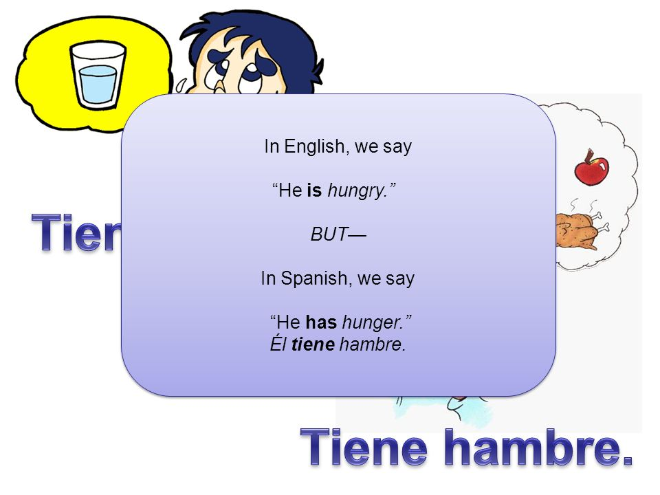 About each picture, say if they are hungry or thirsty… Tiene hambre.oTiene sed.