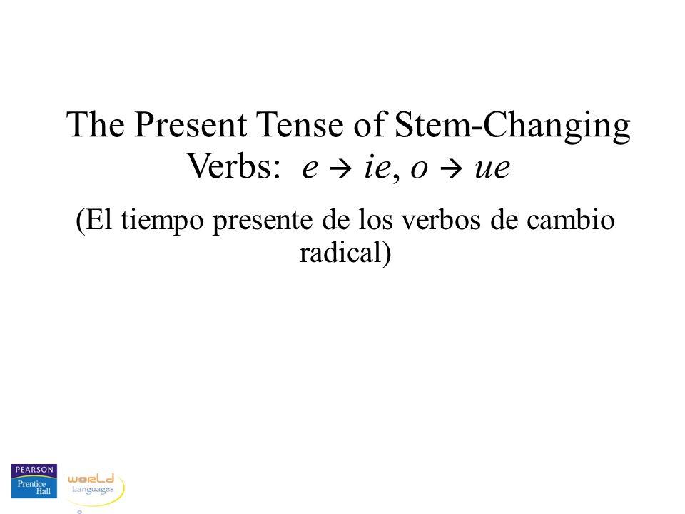 The Present Tense of Stem-Changing Verbs: e ie, o ue (El tiempo presente de los verbos de cambio radical)