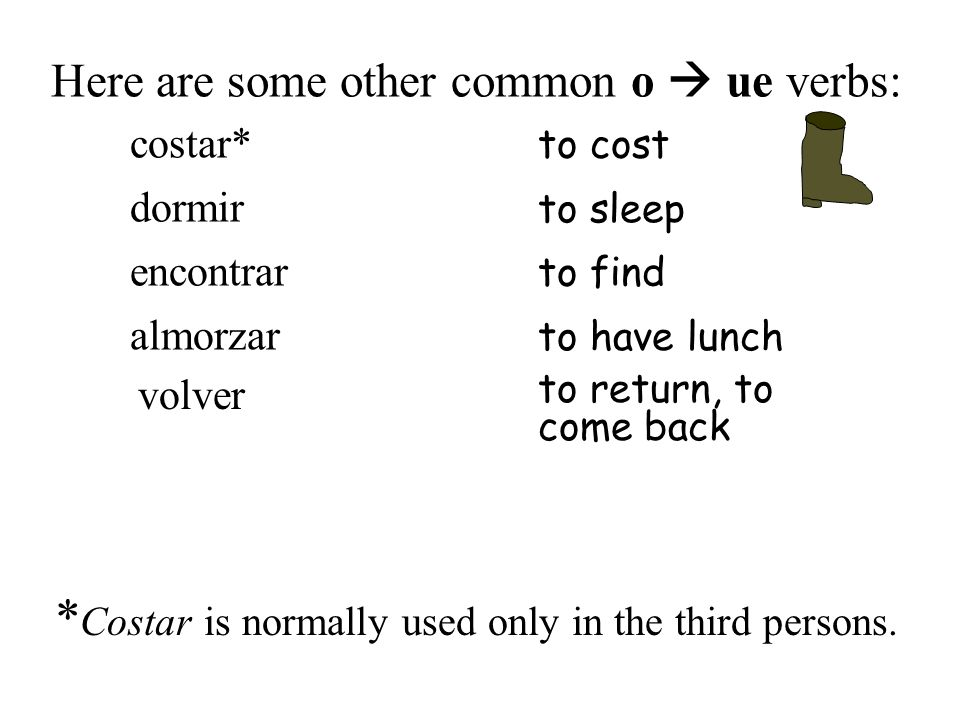 Here are some other common o ue verbs: volver to return, to come back costar* to cost dormir to sleep encontrar to find almorzar to have lunch * Costa