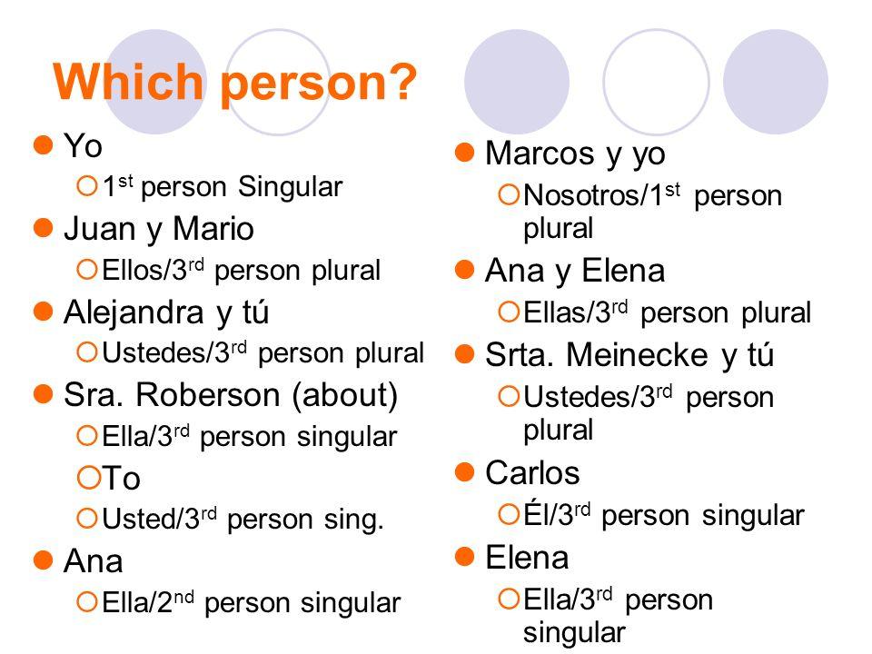 Which person? Yo 1 st person Singular Juan y Mario Ellos/3 rd person plural Alejandra y tú Ustedes/3 rd person plural Sra. Roberson (about) Ella/3 rd