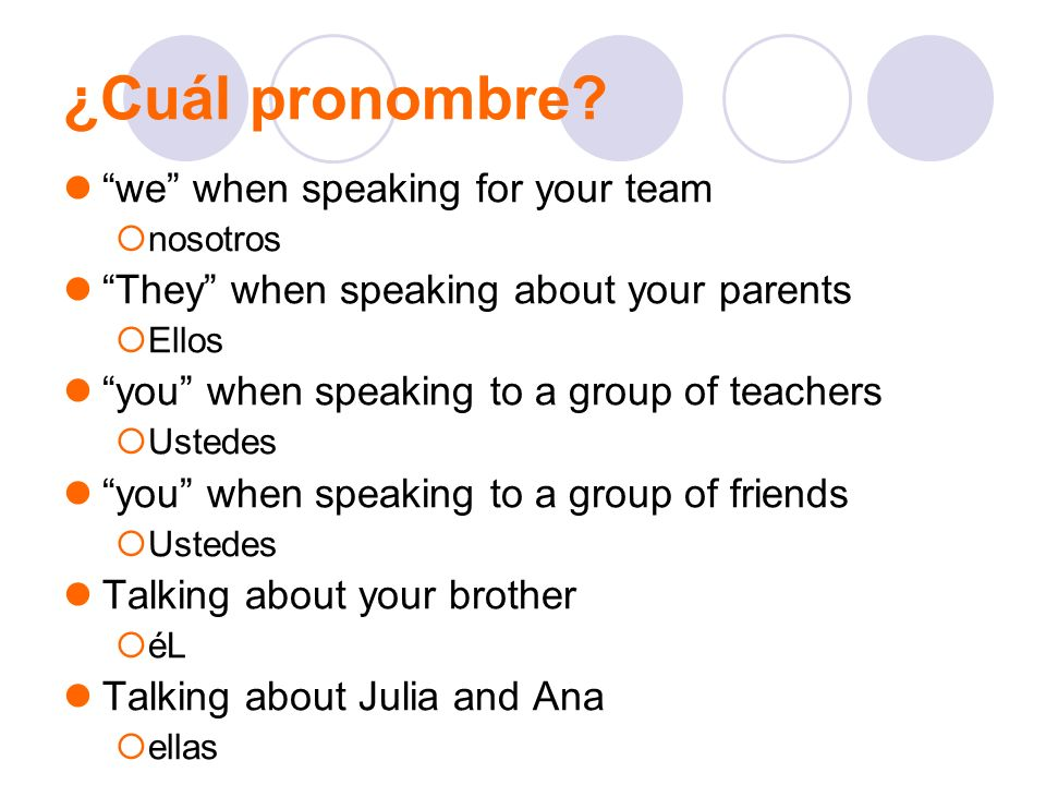 ¿Cuál pronombre? we when speaking for your team nosotros They when speaking about your parents Ellos you when speaking to a group of teachers Ustedes