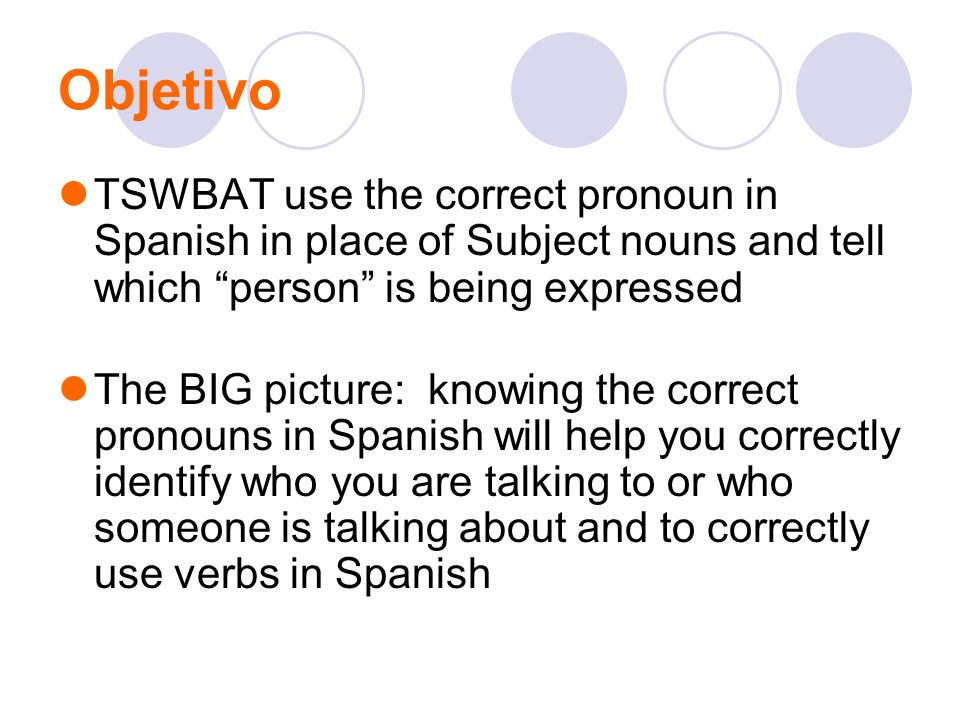Objetivo TSWBAT use the correct pronoun in Spanish in place of Subject nouns and tell which person is being expressed The BIG picture: knowing the cor