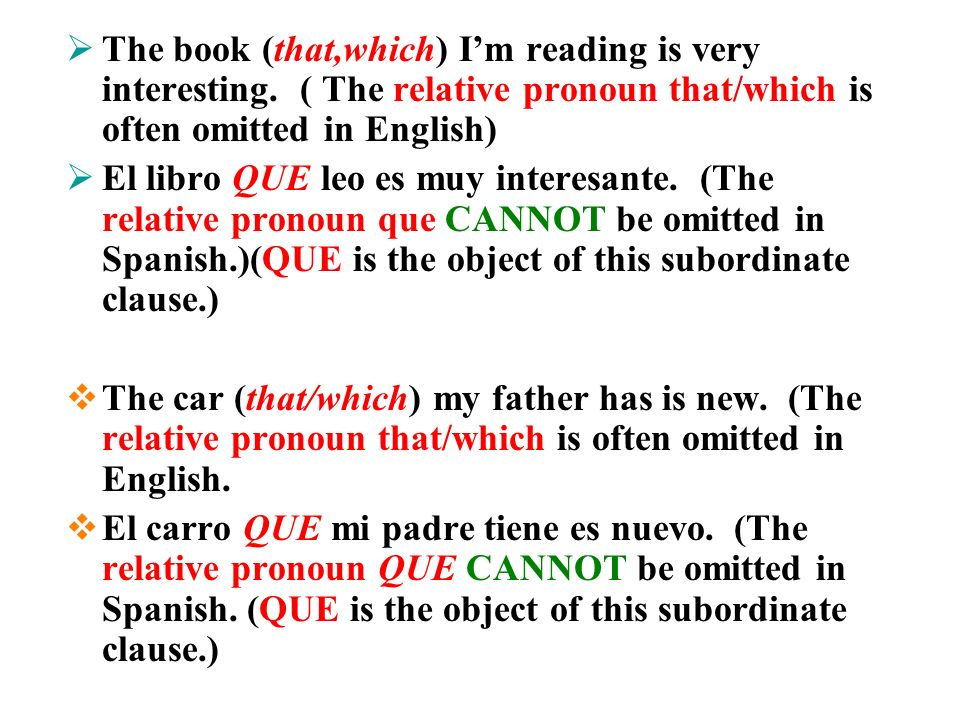 ALWAYS REMEMBER AND NEVER FORGET EVEN IF THE RELATIVE PRONOUN IS OMITTED IN ENGLISH (Which it often is) IT CANNOT BE OMITTED IN SPANISH.