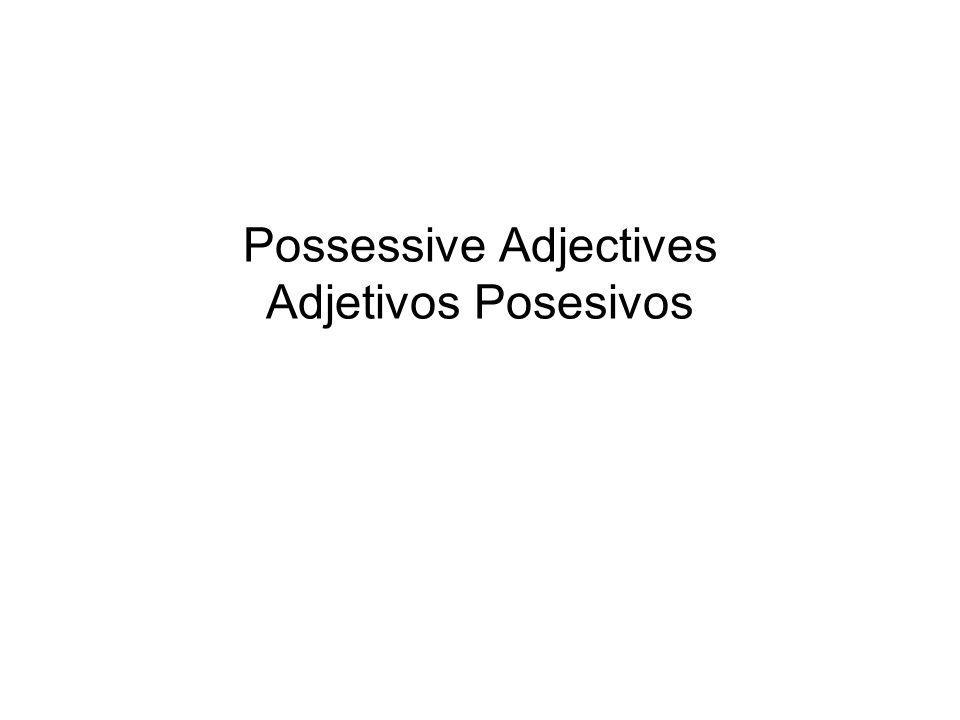 Forms of possessive adjectives SINGULARPLURAL My Your (fam.) His, her, Its, your (form.) Our Your (fam.) Their, its, your (form.) MI MIS TUS TU SUSUS NUESTRO/A SUS SU NUESTROS/AS VUESTRO/A VUESTROS/AS