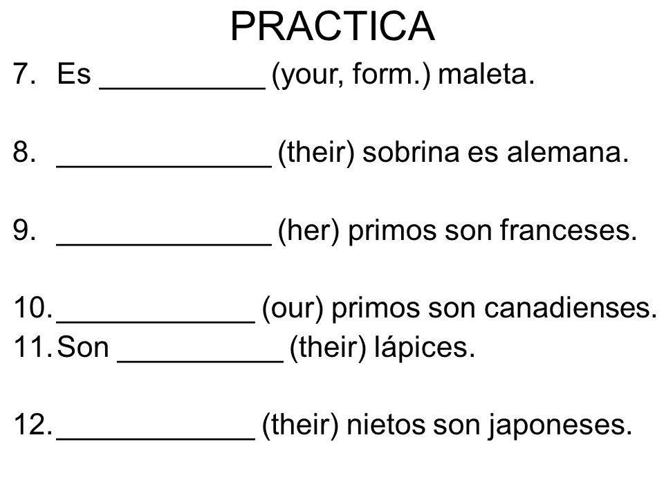 PRACTICA 7.Es __________ (your, form.) maleta. 8._____________ (their) sobrina es alemana. 9._____________ (her) primos son franceses. 10.____________