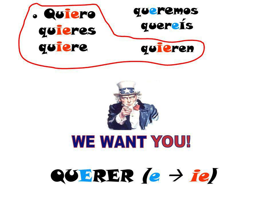 QUERER (e ie) o Quiero quieres quiere que re mos quere í s qu ie ren   content/uploads/we-want-you.jpeg