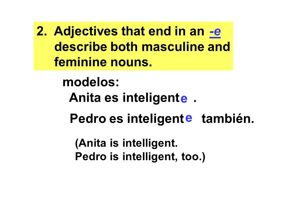 3.Adjectives whose masculine form ends in have a feminine form that ends in.