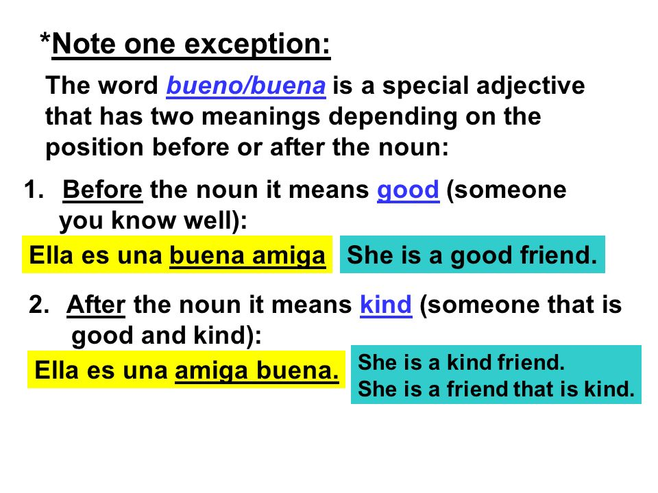 *Note one exception: The word bueno/buena is a special adjective that has two meanings depending on the position before or after the noun: 1. Before t