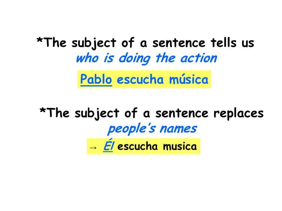 *The subject of a sentence tells us who is doing the action Pablo escucha música *The subject of a sentence replaces peoples names Él escucha musica