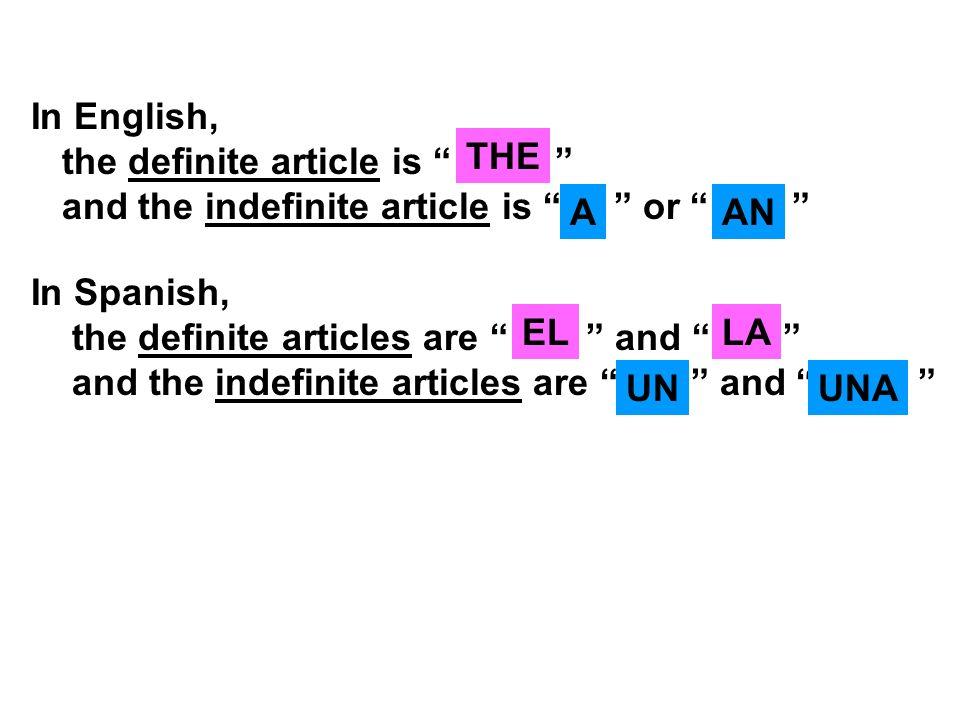 In English, the definite article is and the indefinite article is or THE AAN In Spanish, the definite articles are and and the indefinite articles are
