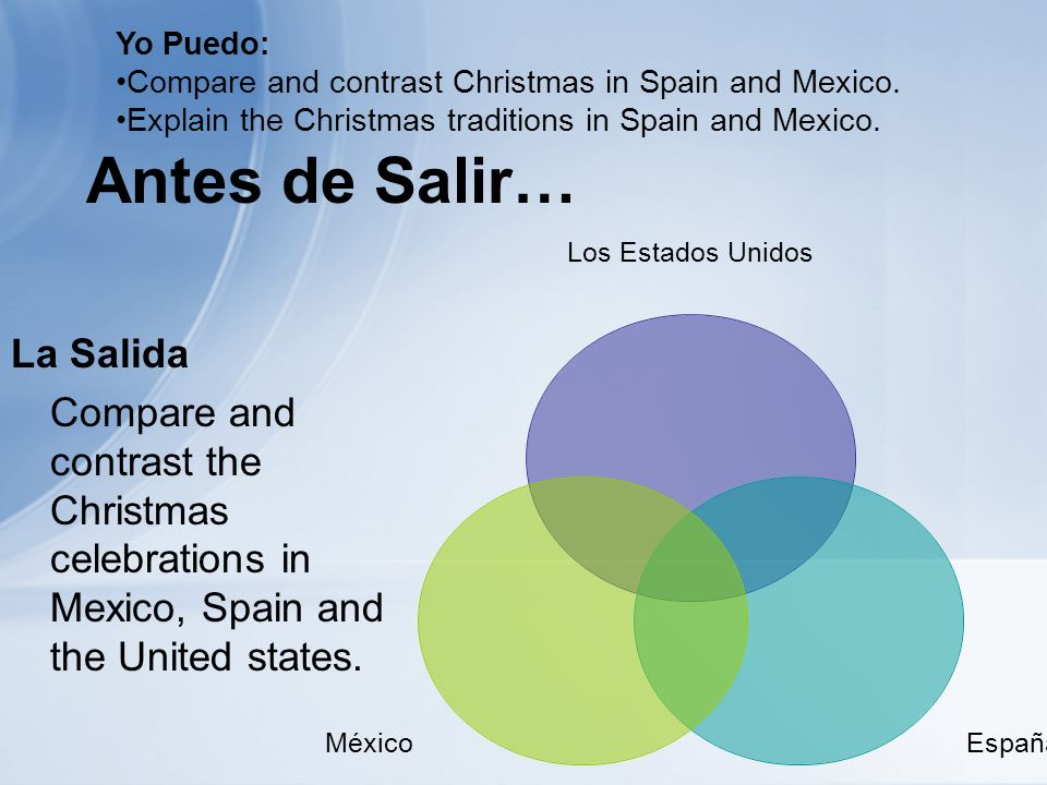 Antes de Salir… La Salida Compare and contrast the Christmas celebrations in Mexico, Spain and the United states.
