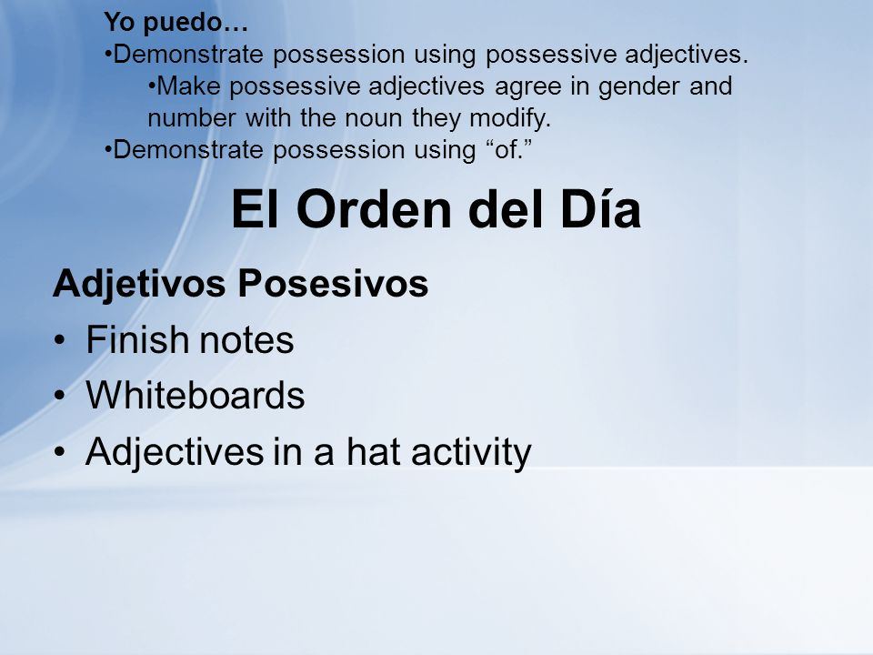 El Orden del Día Adjetivos Posesivos Finish notes Whiteboards Adjectives in a hat activity Yo puedo… Demonstrate possession using possessive adjective