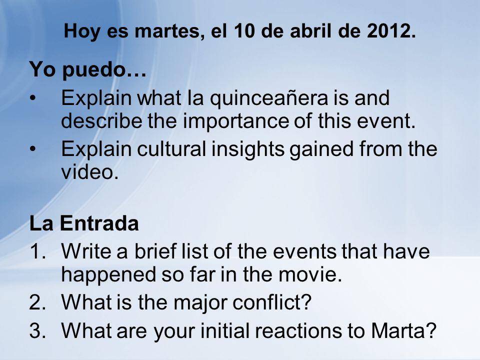 Hoy es martes, el 10 de abril de 2012. Yo puedo… Explain what la quinceañera is and describe the importance of this event. Explain cultural insights g