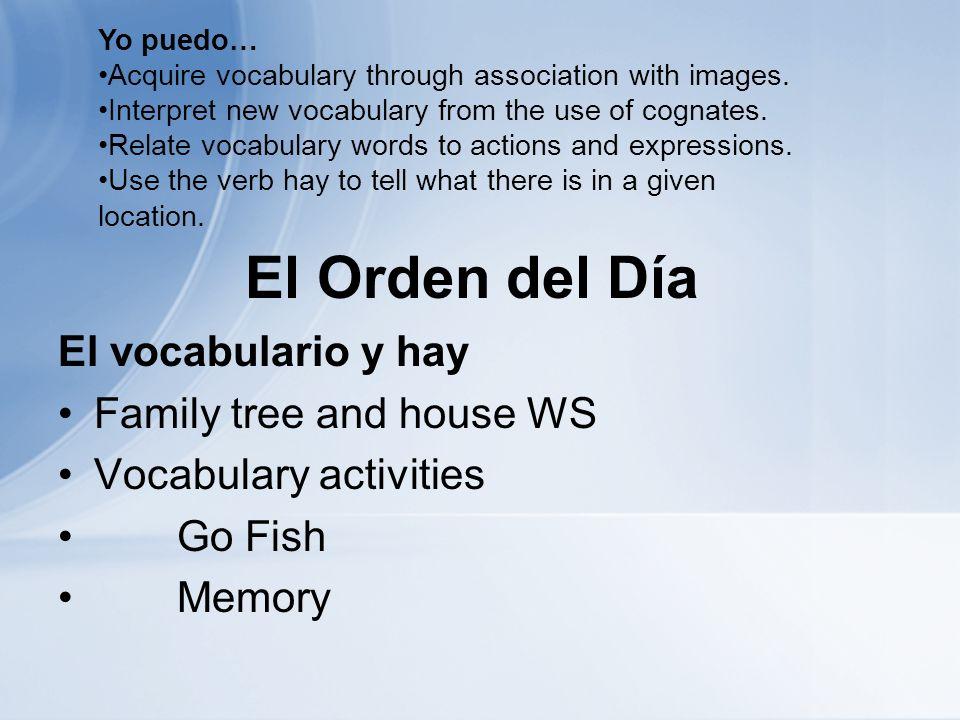 El Orden del Día El vocabulario y hay Family tree and house WS Vocabulary activities Go Fish Memory Yo puedo… Acquire vocabulary through association with images.