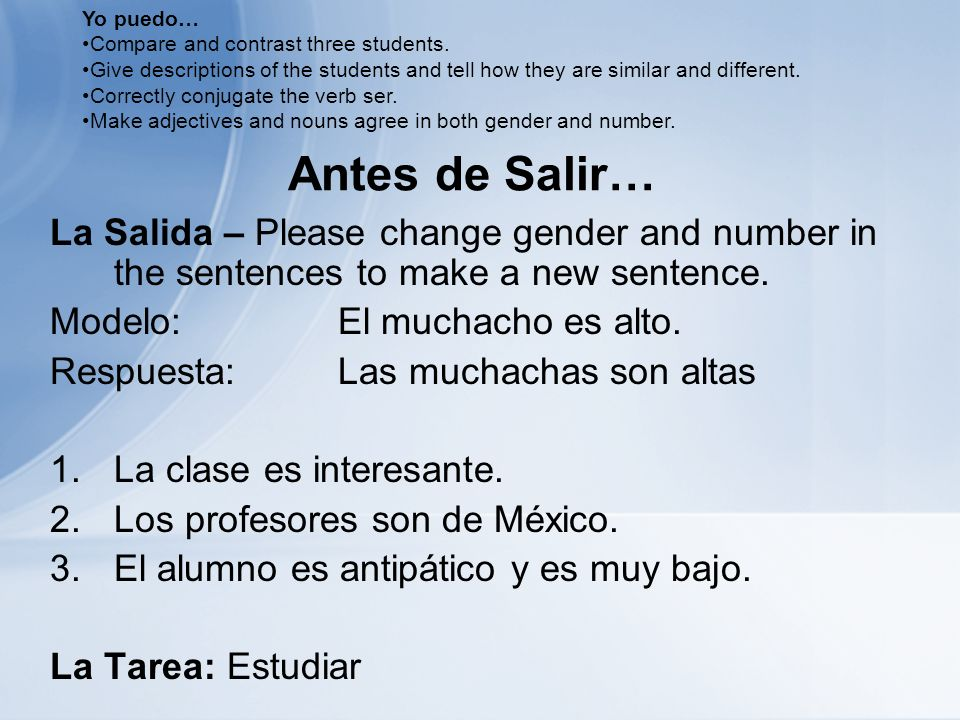 Antes de Salir… La Salida – Please change gender and number in the sentences to make a new sentence.