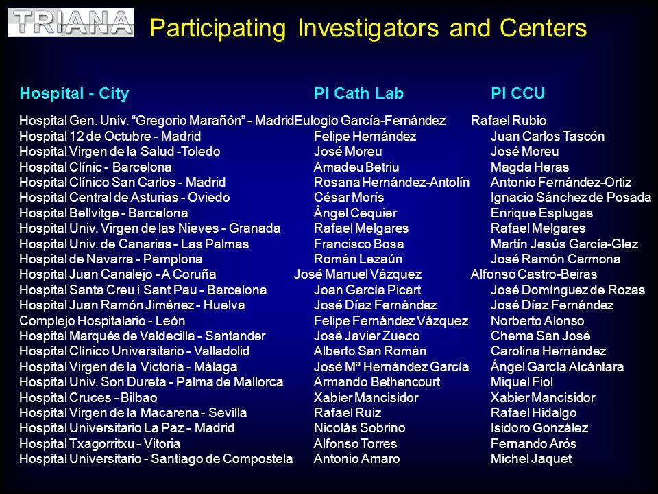 Participating Investigators and Centers Hospital - CityPI Cath LabPI CCU Hospital Gen. Univ. Gregorio Marañón - MadridEulogio García-FernándezRafael R