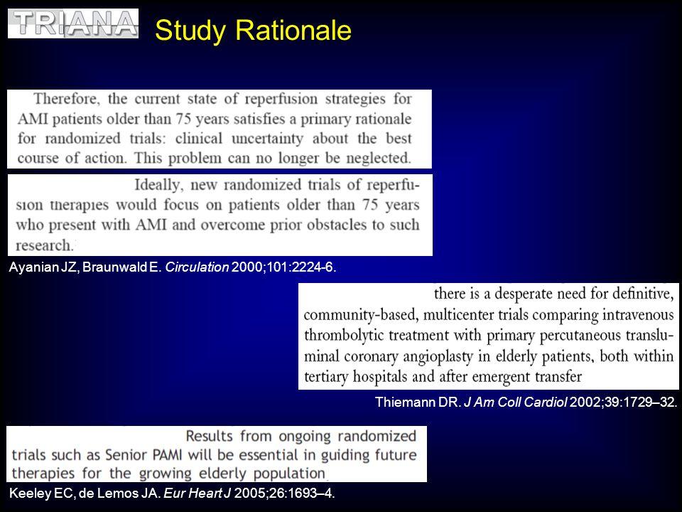 Ayanian JZ, Braunwald E. Circulation 2000;101:2224-6. Thiemann DR. J Am Coll Cardiol 2002;39:1729–32. Keeley EC, de Lemos JA. Eur Heart J 2005;26:1693