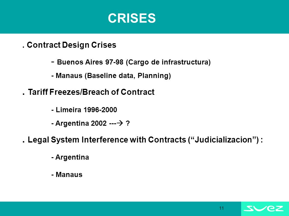 11 CRISES. Contract Design Crises - Buenos Aires 97-98 (Cargo de infrastructura) - Manaus (Baseline data, Planning). Tariff Freezes/Breach of Contract