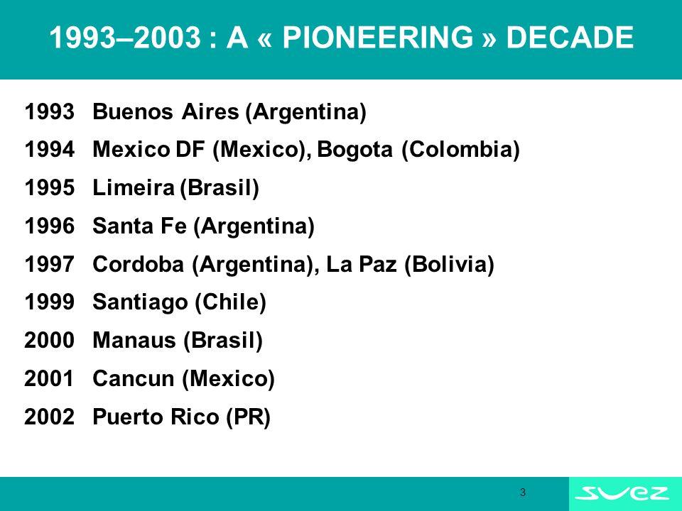 3 1993–2003 : A « PIONEERING » DECADE 1993 Buenos Aires (Argentina) 1994 Mexico DF (Mexico), Bogota (Colombia) 1995 Limeira (Brasil) 1996Santa Fe (Argentina) 1997Cordoba (Argentina), La Paz (Bolivia) 1999 Santiago (Chile) 2000Manaus (Brasil) 2001 Cancun (Mexico) 2002Puerto Rico (PR)