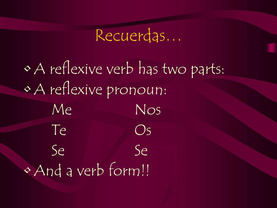 Recuerdas… A reflexive verb has two parts: A reflexive pronoun: MeNos TeOsSe And a verb form!!