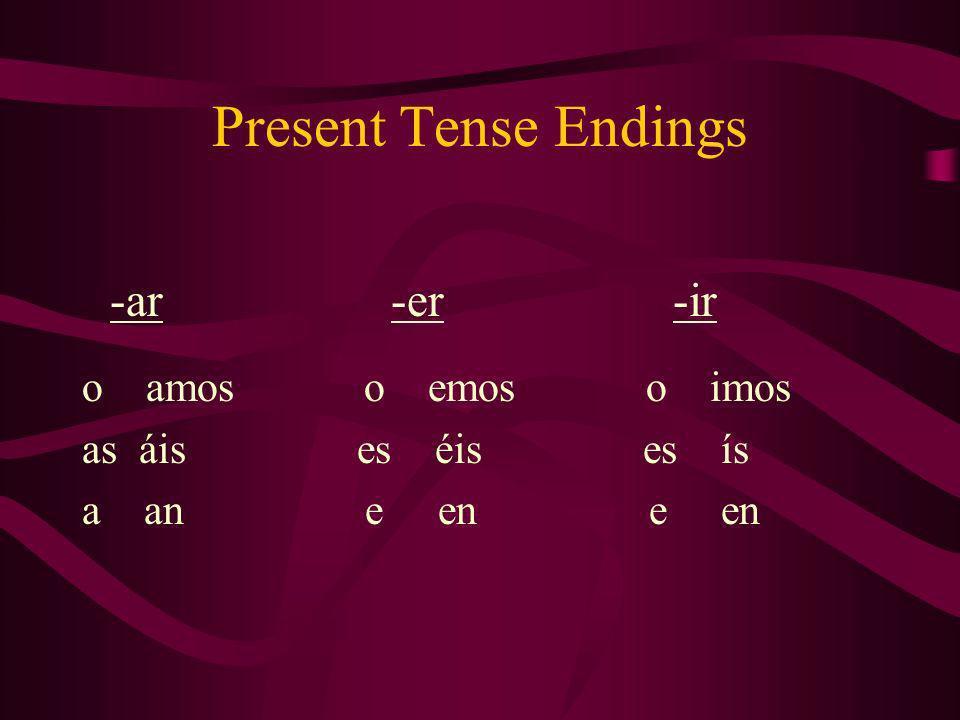 Present Tense Endings -ar -er -ir o amos o emos o imos as áis es éis es ís a an e en e en