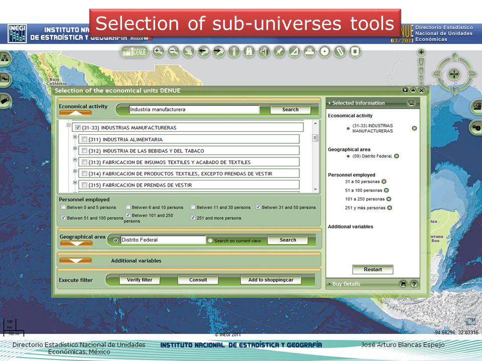 Selection of sub-universes tools Directorio Estadístico Nacional de Unidades Económicas.