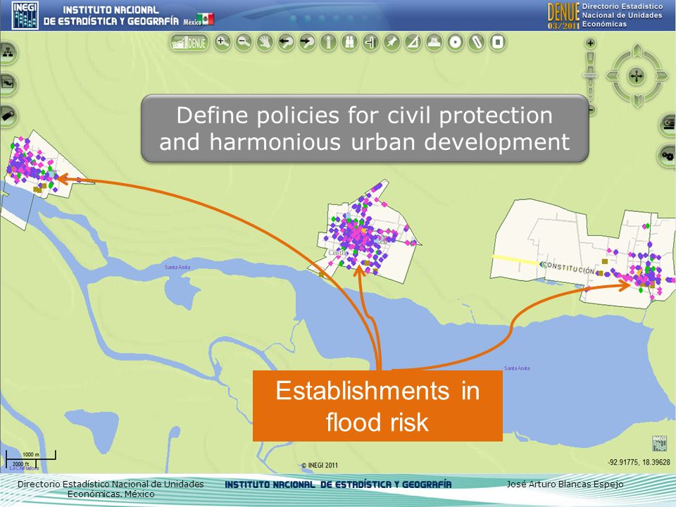 Define policies for civil protection and harmonious urban development Directorio Estadístico Nacional de Unidades Económicas.